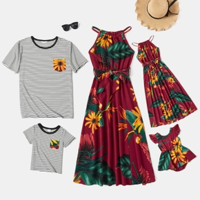 Sunflower Series Family Matching Sets( Halter Neck Design Dresses for Mom and Girl; Stripe Print Short Sleeve T-shirts for Dad and Boy)