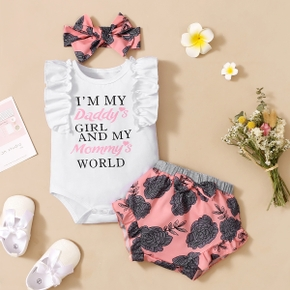3pcs Letter and Floral Print Baby Set