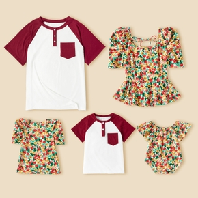 Family Matching Short Sleeve Tops(Floral Print Tops for Mom and Girl ; Raglan Sleeves T-shirts for Dad and Boy)