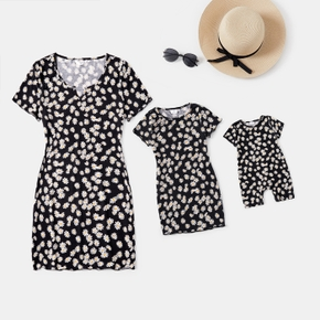 Little Daisy Print Skinny Mini Dresses for Mommy and Me