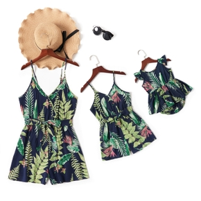 Leaf Print Green Sling Short Rompers for Mommy and Me