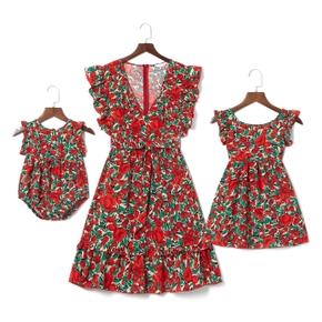 Floral Print Red Ruffle Sleeveless Dresses for Mommy and Me