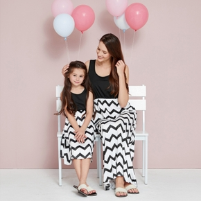 Solid and Wave Stripe Matching Maxi Tank Dresses
