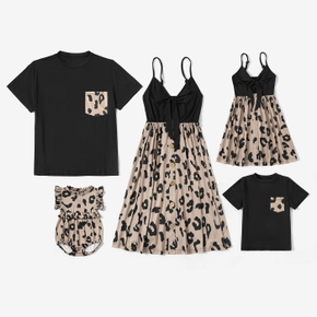 Leopard Print Series Family Matching Sets(Sling V-neck Dresses for Mom and Girl ; T-shirts with Pocket for Dad and Boy)