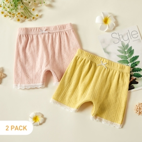 2pcs Hollow Out Solid Color Baby Shorts