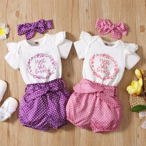 3pcs Dots and Letter Print Baby Set