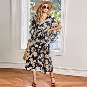 Elegant Floral Print Round collar A Midi Dress