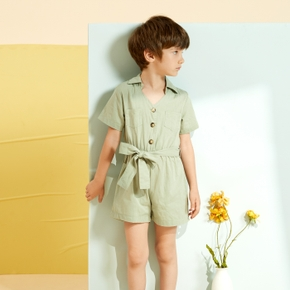 Toddler Chic Solid Bowknot Casual Jumpsuit