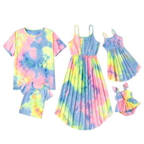 Tie-dye Series Family Matching Sets(Irregular Hem Sling  Dresses for Mom and Girl ; Loose Short Sleeve T-shirts for Dad and Boy)