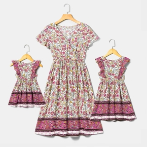 Colorful Floral Print Matching Midi Dresses for Mommy and Me