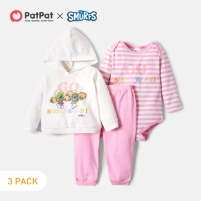 Smurfs 3-pack Baby Girl 100% Cotton Hoodie and Stripe Romper and Pants Set