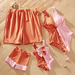 Color Block Onepiece Family Matching Swimsuits