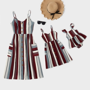 Stripe Print Front Buttons Sling Dresses with Pockets for Mommy and Me