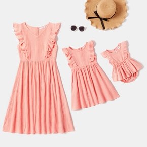 Solid Flutter-sleeve Matching Pink Midi Dresses