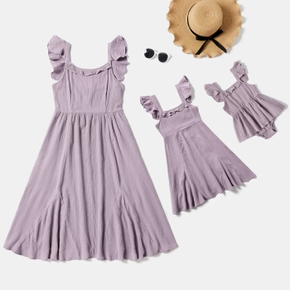 Mosaic Solid Flutter-sleeve Crepe Matching Lilac Midi Dresses