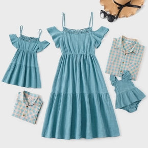 100% Cotton Solid and Plaid Family Matching Blue Sets