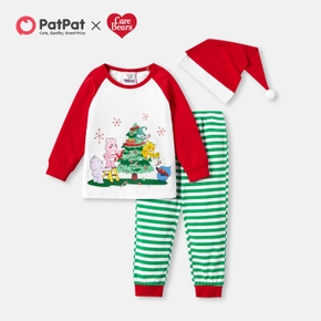 Care Bears 3-piece Girl Cotton Christmas Tree Top and Stripe Pants with Santa Hat
