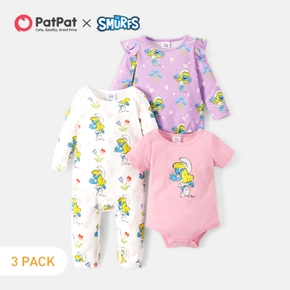 Smurfs 3-pack Baby Girl 100% Cotton Floral Flounced Rompers
