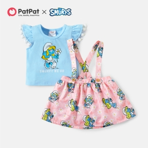 Smurfs Baby Girl 2-piece Tassel Cotton Top and Floral Overall Dress Sets
