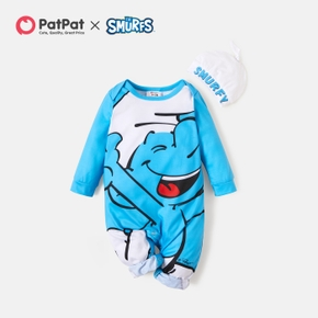 Smurfs 2-piece Baby Boy Big Graphic Baby Jumpsuit and Hat
