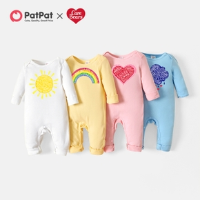 Care Bears Baby Boy/Girl Colorful Rainbow and Sun Cotton Jumpsuit