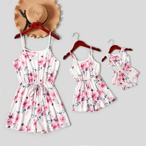 Floral Print Matching White Sling Short Rompers for Mommy and Me