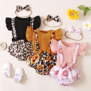 3pcs Leopard Floral Sunflower Print Flutter-sleeve Baby Sets
