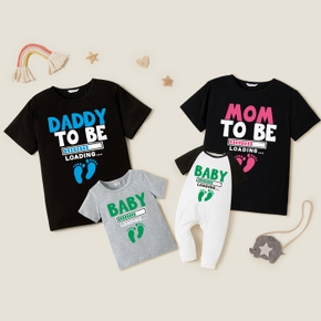 Loading Letter Print Family Matching Short Sleeve T-shirts