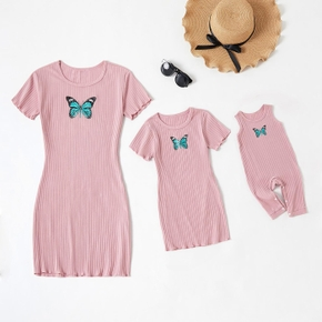 Butterfly Pattern Matching Pink Skinny Short Sleeve Mini Dresses for Mommy and Me( Loose Tank Baby Rompers)