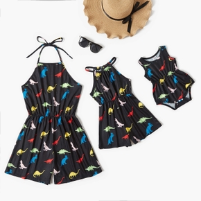 Dinosaur Print Halter Black Short Rompers for Mommy and Me