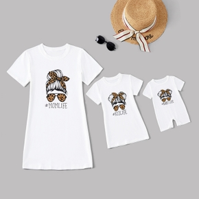 Letter Print Short Sleeve Cotton Mini Dresses for Mommy and Me