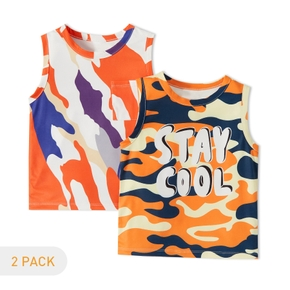 2-Pack Toddler Boy Letter Camouflage Camisole
