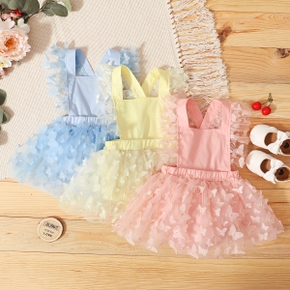100% Cotton Three-dimensional Butterfly Baby Suspender Romper Dress