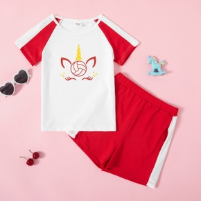 Unicorn Print Color Contrast Top and Shorts Athleisure Set for Toddlers / Kids