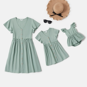 100% Cotton Short Sleeve Solid Color Dresses for Mommy and Me