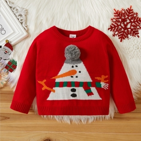 Beautiful Baby Girl Christmas Snowman Embroidery Pompom Decor Colorblock Sweater