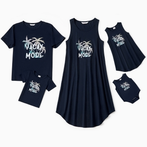 Mosaic Letter and Coconut Tree Print Family Matching Navy Sets