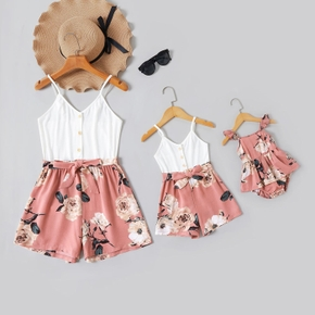 White V-neck Short-sleeve Stitching Floral Print Shorts Rompers for Mommy and Me