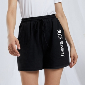 Casual Letter Print Relaxed fit Wide trousers shorts