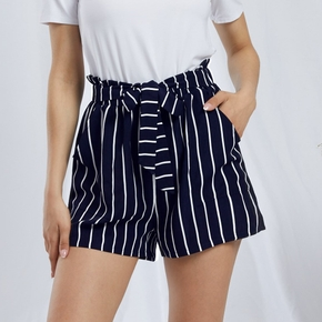 Casual Stripes Print Shift Wide trousers shorts