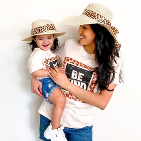 Leopard Letter Print Apricot T-shirts for Mom and Me