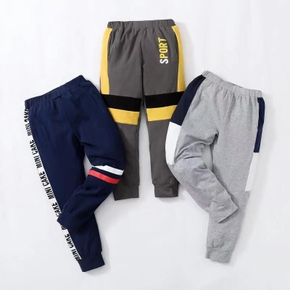 Color Block Letter Print Athleisure  Pants for Toddlers / Kids