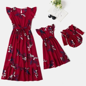 Floral Print Flutter-sleeve Matching Red Midi Dresses