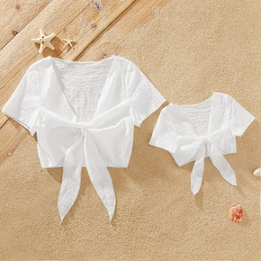100% Cotton Solid White Front Tie Short Sleeve Cover Up for Mommy and Me