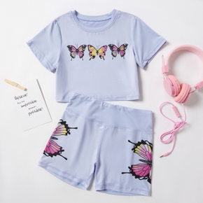 Butterfly Print Tee and Shorts Athleisure Set for Toddlers / Kids