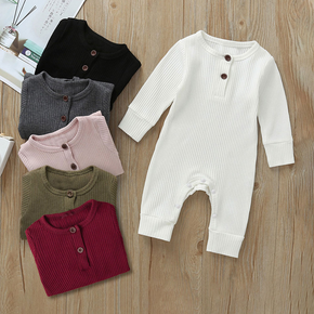 Ribbed Solid Long-sleeve Baby Jumpsuit