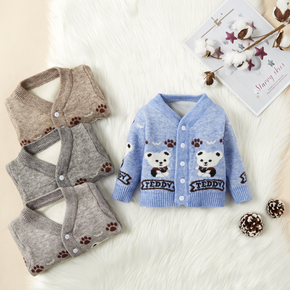 Letter and Bear Print Long-sleeve Knitwear Sweater