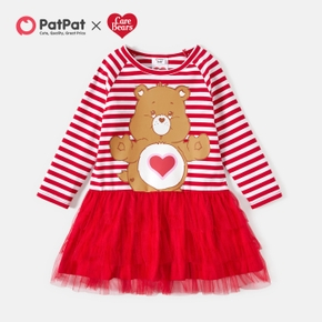 Care Bears Toddler Girl Cotton Stripe and Mesh Dress