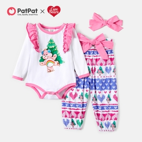 Care Bears 3-piece Baby Girl Cool hristmas Flounced Cotton Romper and Bowknot Pants With Headband Set