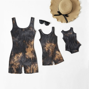 Tie-dye Dark Grey Skinny Cotton Tank Short Rompers for Mommy and Me(Regular Fit Baby Rompers)